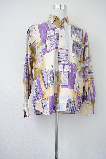 Vintage Hellbraunes Violettes Hemd mit Print