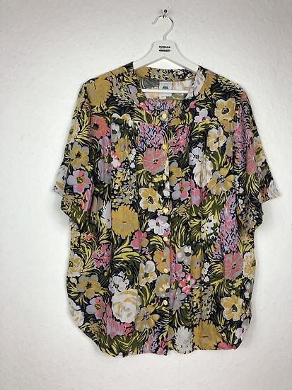 Bluse mit Blumenmuster grün/rosa/curry/schwarz