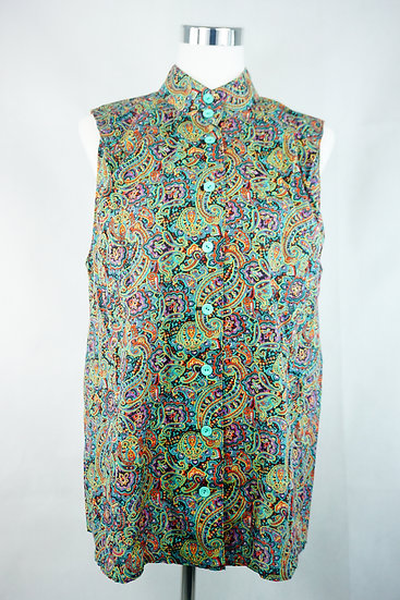 Bluse ohne Arm mit Paisley Muster