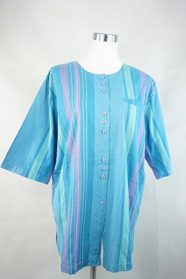 """""""Hippie macht blau!""""- Blaue Bluse mit Streifen"""