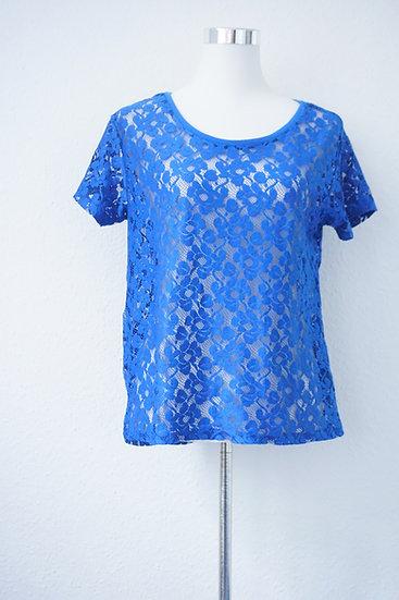 """""""Durchblick"""" - Blaues Spitzen Shirt"""
