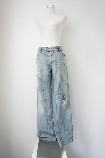 """""""90's Rave"""" - Hellblaue Jeans niedriger Bund"""