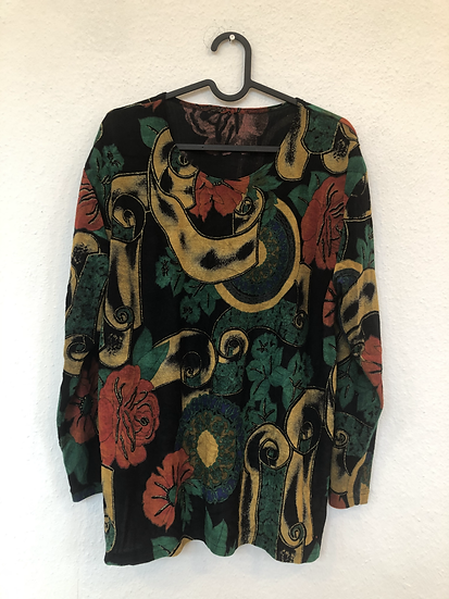 Vintage Bluse mit Goldglitzer, schwarz/rot/gelb/grün
