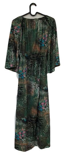 Grünes Kleid mit Vintage Blumenmuster