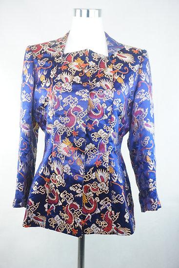 Blaue Bluse mit chinesische Drachen