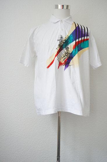 80's Weißes Sporthemd mit Druck