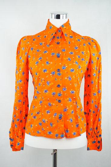 """""""Flower - Power"""" Orange Bluse mit Blumen"""