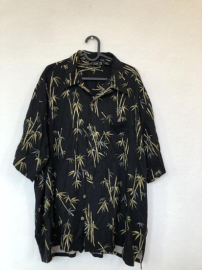 Schwarzes Seidenhemd mit Bambusmuster