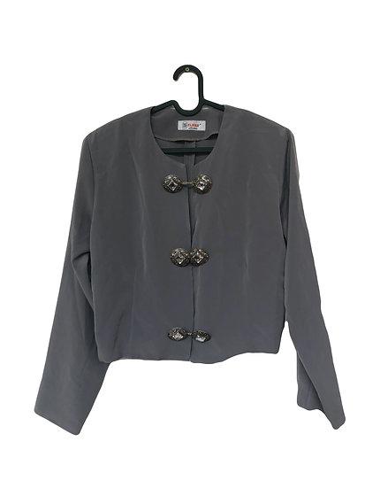 Graue Jacke mit Knöpfen aus Gold und Glas