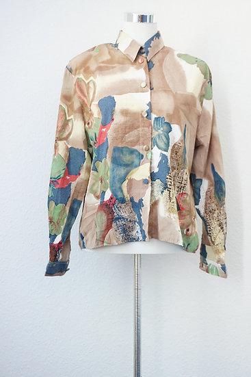 """""""Malerisch"""" - Vintage Bluse mit Kunstdruck aus Seide"""