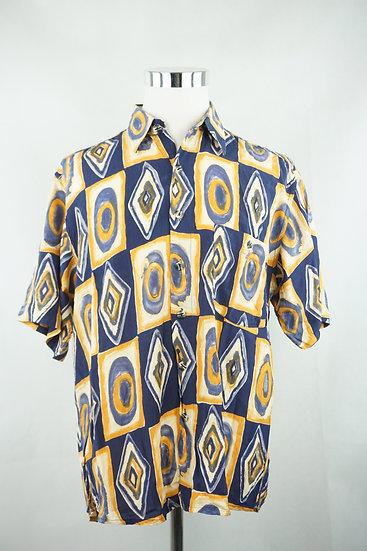 Blau/gelbes  Hemd mit Kunstdruck