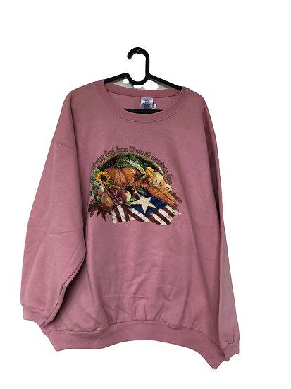 Rosa Sport Sweatshirt mit Obstgarten Motiv und Stickereien