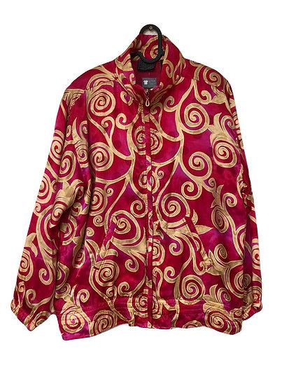 Rote Seidenjacke mit goldenem Muster