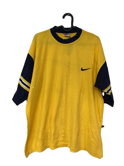 Gelbes Sport T-Shirt mit marineblauen Ärmel