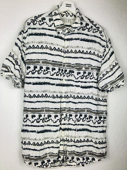 Vintage Hemd weiss/grau/schwarz