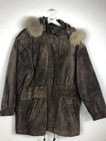 Braune Vintage Wildlederjacke mit Pelzkragen