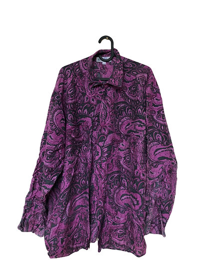 Seidenhemd mit lila Muster