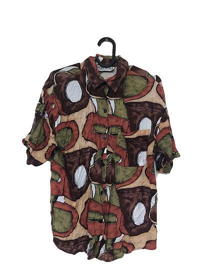 Erdfarbene Bluse mit braun/grünem Muster