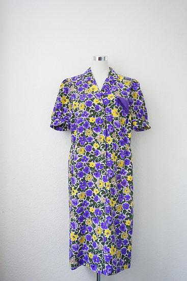 """""""Italian Mama"""" - Violettes Kleid mit gelben Blumen"""