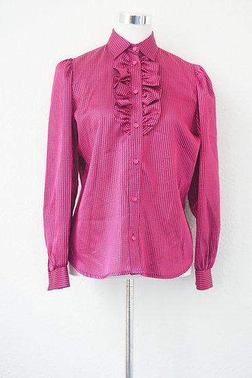 """""""Aufgerüscht"""" - Bordeaux Bluse mit schwarzen und silbernen Streifen"""