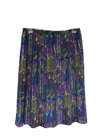 Faltenrock mit grün und lila Muster