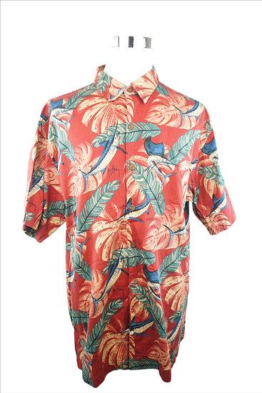 """Lass uns Angeln gehen!"" Hemd rot mit Floral Print"