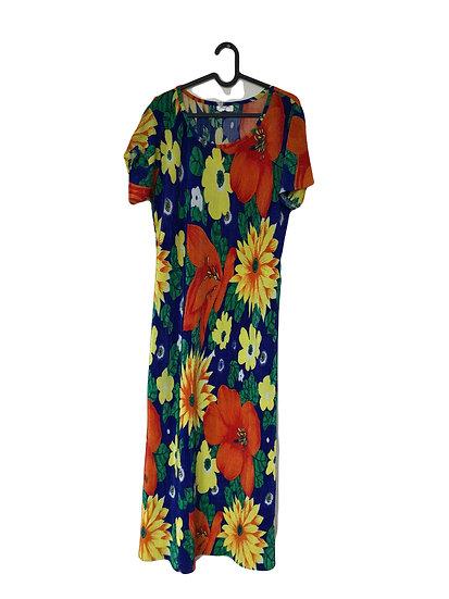 Blaues Kleid mit Blumendruck