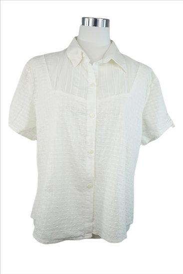 """""""Schneegestöber im Sommer!"""" -Weiße Bluse mit Schneeflocken Stickerei"""