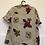 Thumbnail: Beige Vintage Bluse mit braun/rot/grün