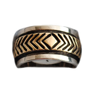 BRUCE MORGAN, NAVAJO GOLD & SILVER RING
