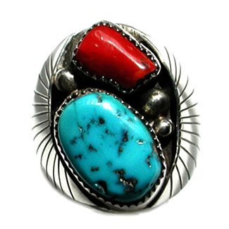 AUGUSTINE LARGO, NAVAJO TURQUOISE/CORAL RING