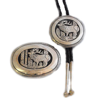 TOM BAHE, SILVER BUCKLE & BOLO TIE
