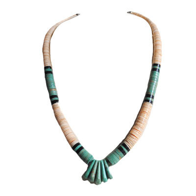 LUPE LOVATO, TURQUOISE ROLLED BEADS