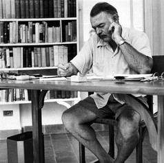 Hemingway in writing studio