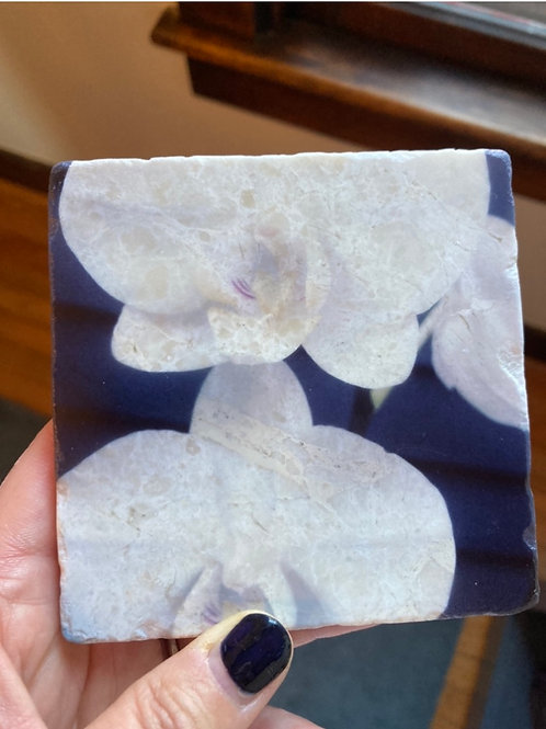 Set of 4 Marble Art Coasters- Tranquility