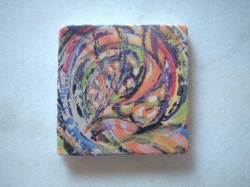 Set of 4 Marble Art Coasters - Happy