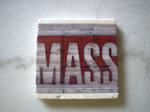 Single Marble Art Coaster- Mass Ave (Large Mass Sign)