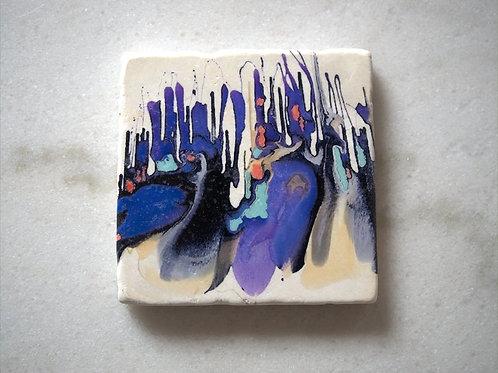 Set of 4 Marble Art Coasters -Purple Rain