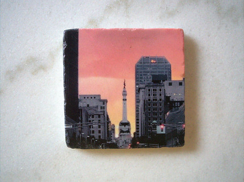 Single Marble Art Coaster- Indy Orange