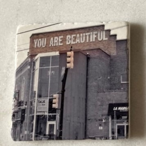Set of 4 Marble Art Coasters- You Are Beautiful (FS)