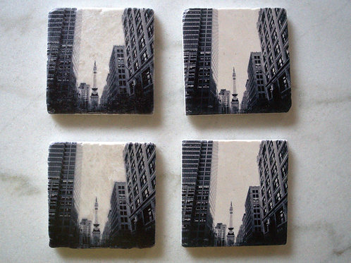 Set of 4 Marble Art Coasters- Indy Live!