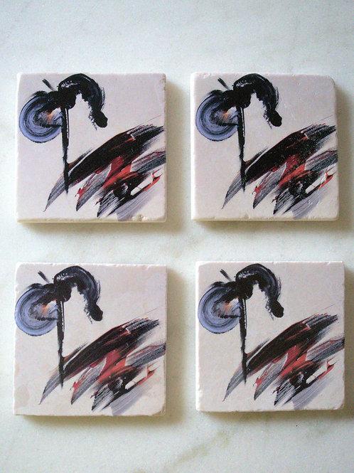 Set of 4 Marble Art Coasters - Tiny Dancer