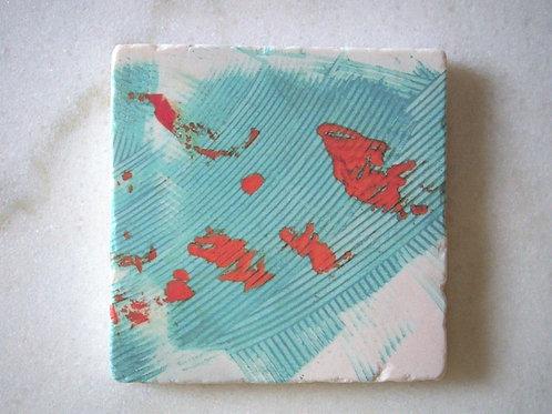 Single Marble Art Coaster -Turquoise