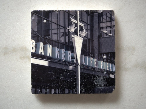 Set of 4 Marble Art Coasters - Bankers Life Fieldhouse Sign