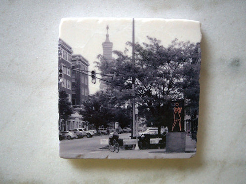 Single Marble Art Coasters- Mass Ave View