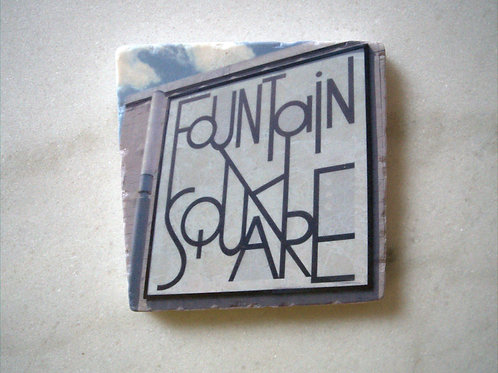 Set of 4 Marble Art Coasters- Fountain Square Sign