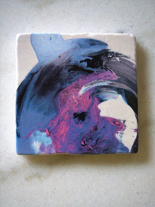 Single Marble Art Coaster- Blue motions