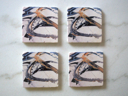 Set of4 Marble Art Coasters - Blue Gold