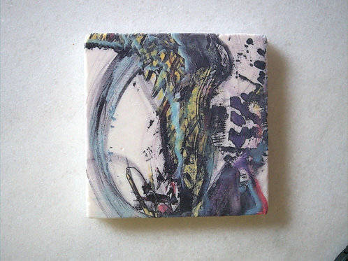 Single Marble Art Coaster -Giraffe