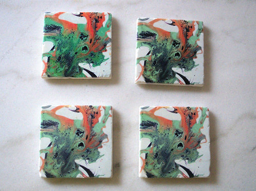 Set of 4 Art Coasters - Grasshopper